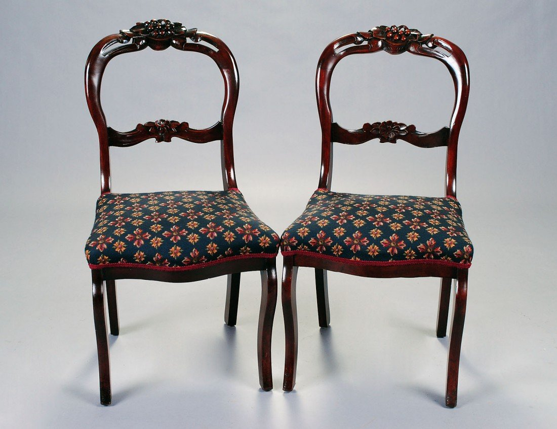 159: SET OF FOUR VICTORIAN MAHOGANY BALLOON BACK CHAIRS