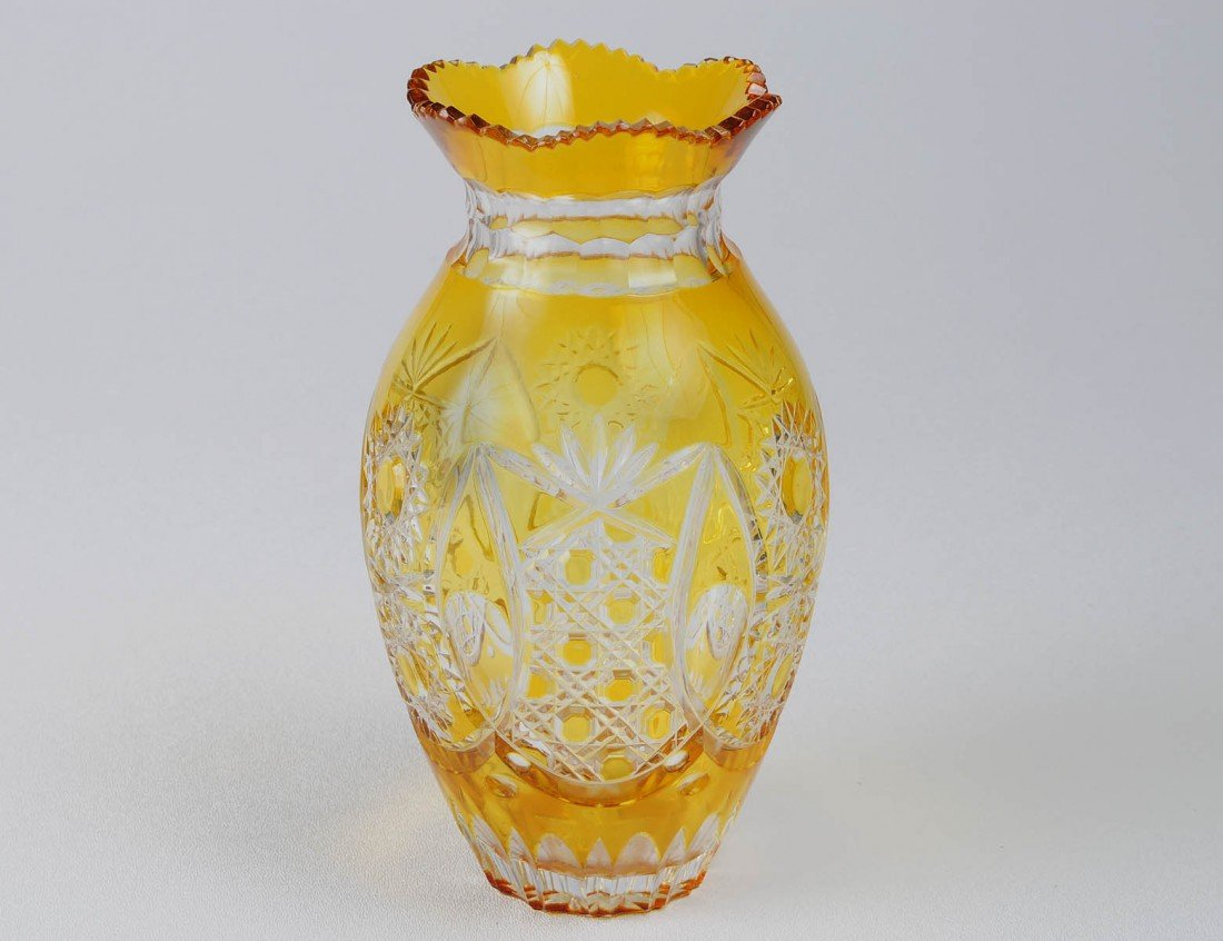 1: AMBER OVERLAY AND CUT TO CLEAR CRYSTAL VASE