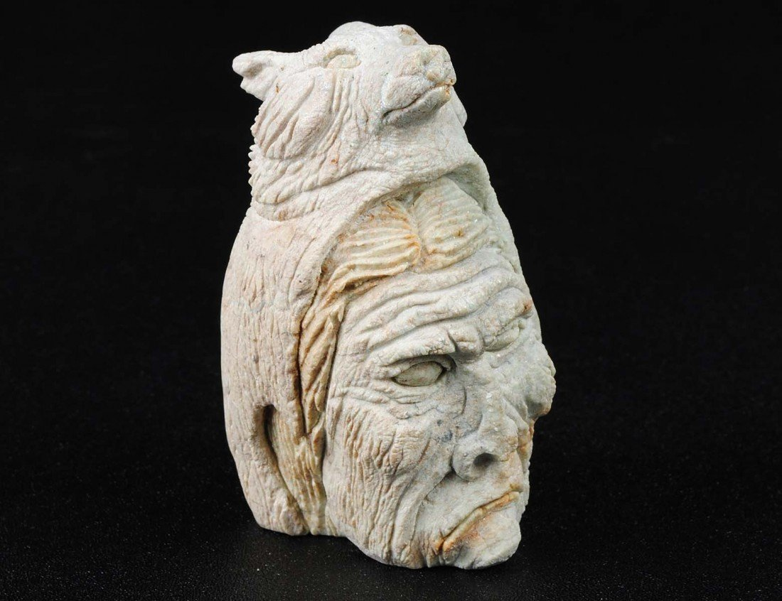 8: CARVED STONE HEAD OF A SHAMAN
