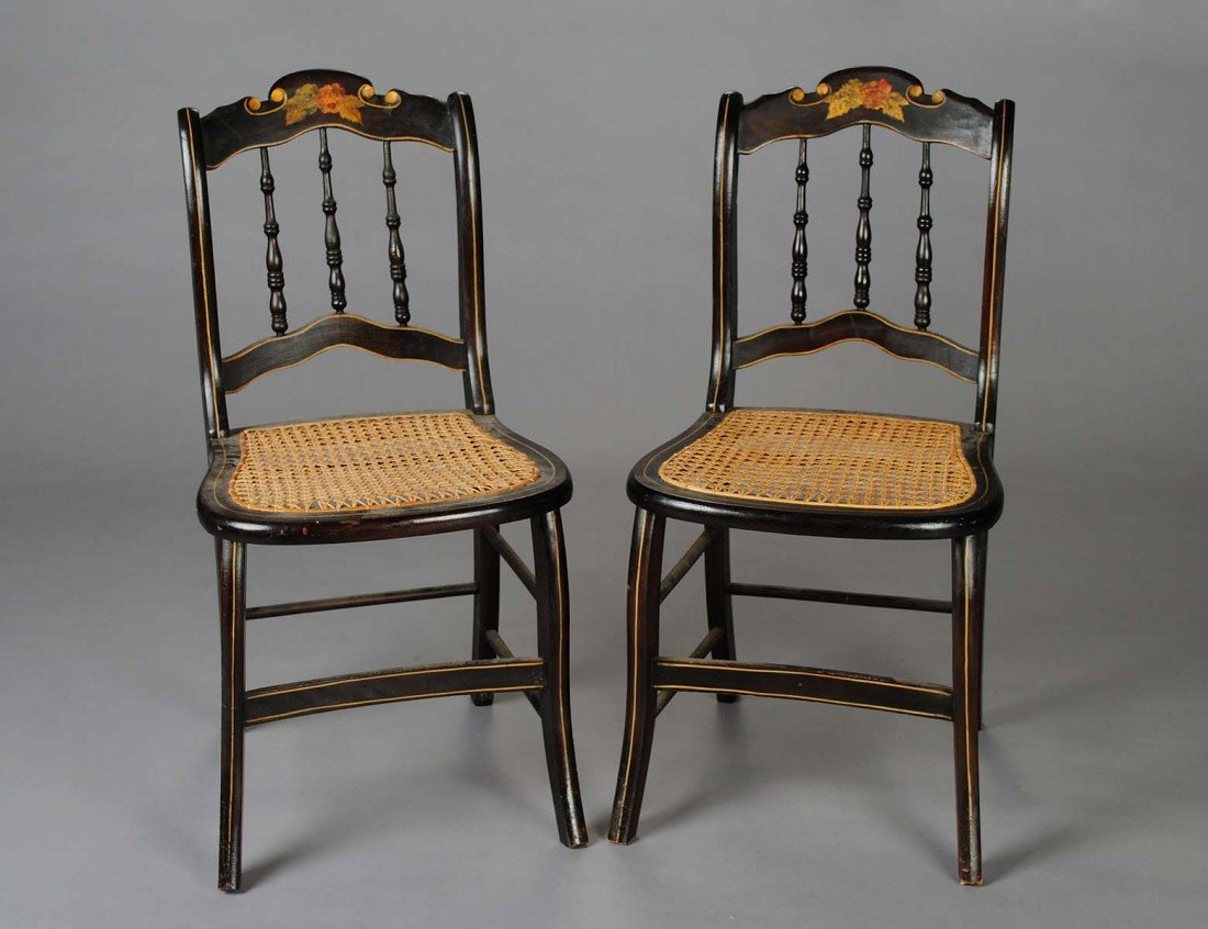 19: PAIR OF VICTORIAN EBONIZED AND PAINTED SIDE CHAIRS