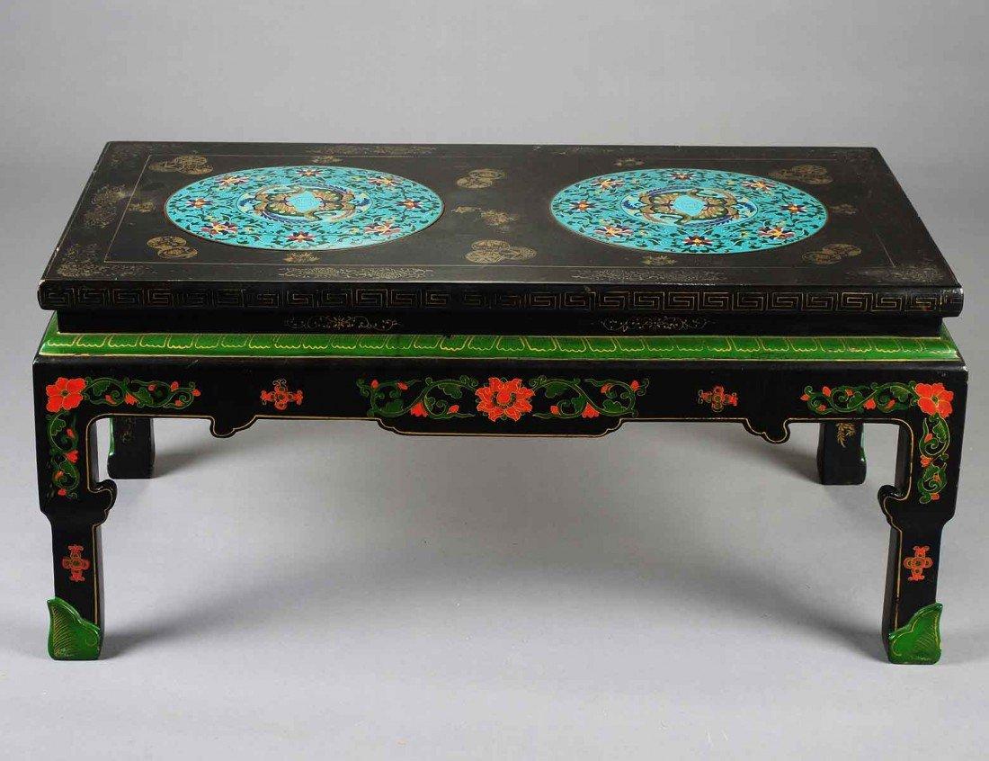 20: CLOISONNE ENAMEL INSET BLACK LACQUERED LOW TABLE