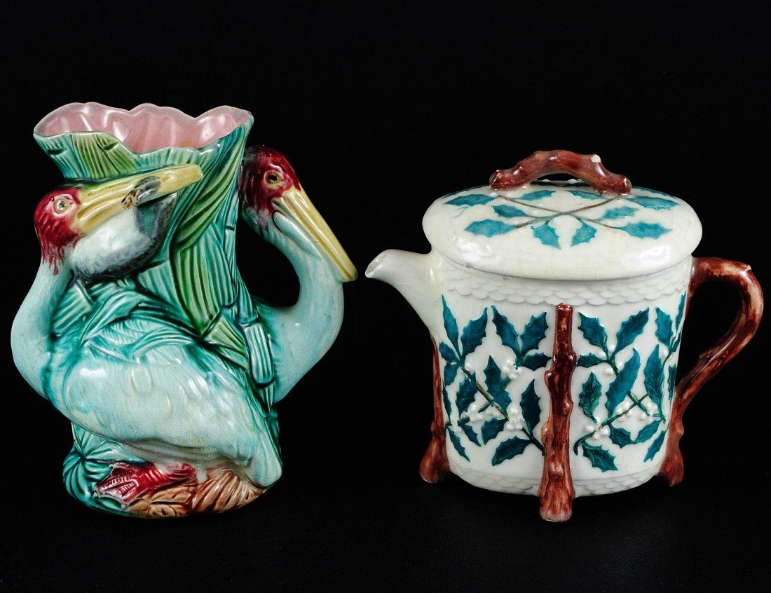 14: TWO MAJOLICA TABLE ARTICLES
