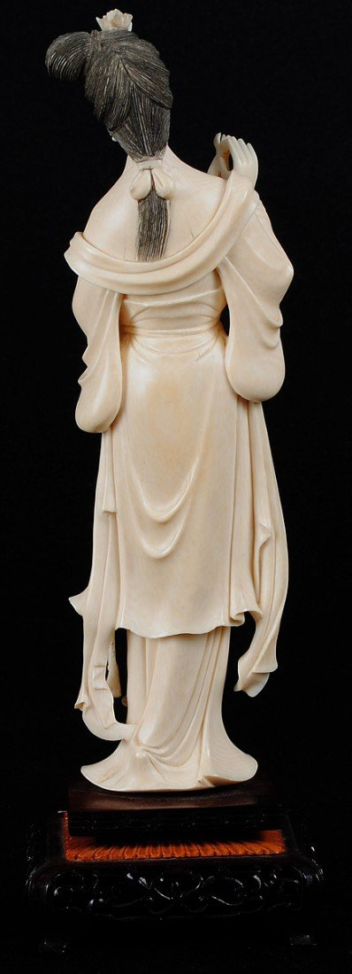 33: CARVED IVORY FIGURE OF A MAIDEN - 4