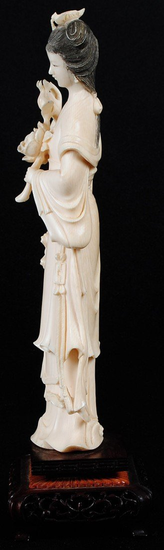 33: CARVED IVORY FIGURE OF A MAIDEN - 5
