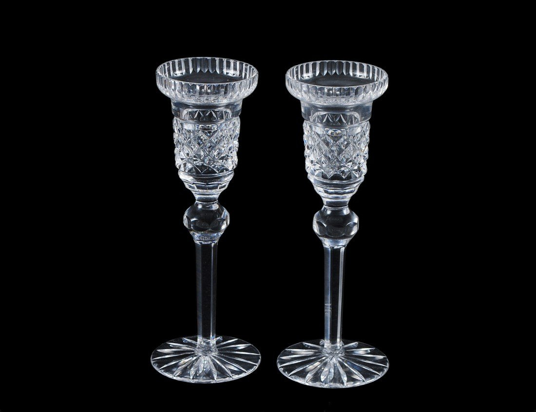 5: PAIR OF CRYSTAL CANDLESTICKS