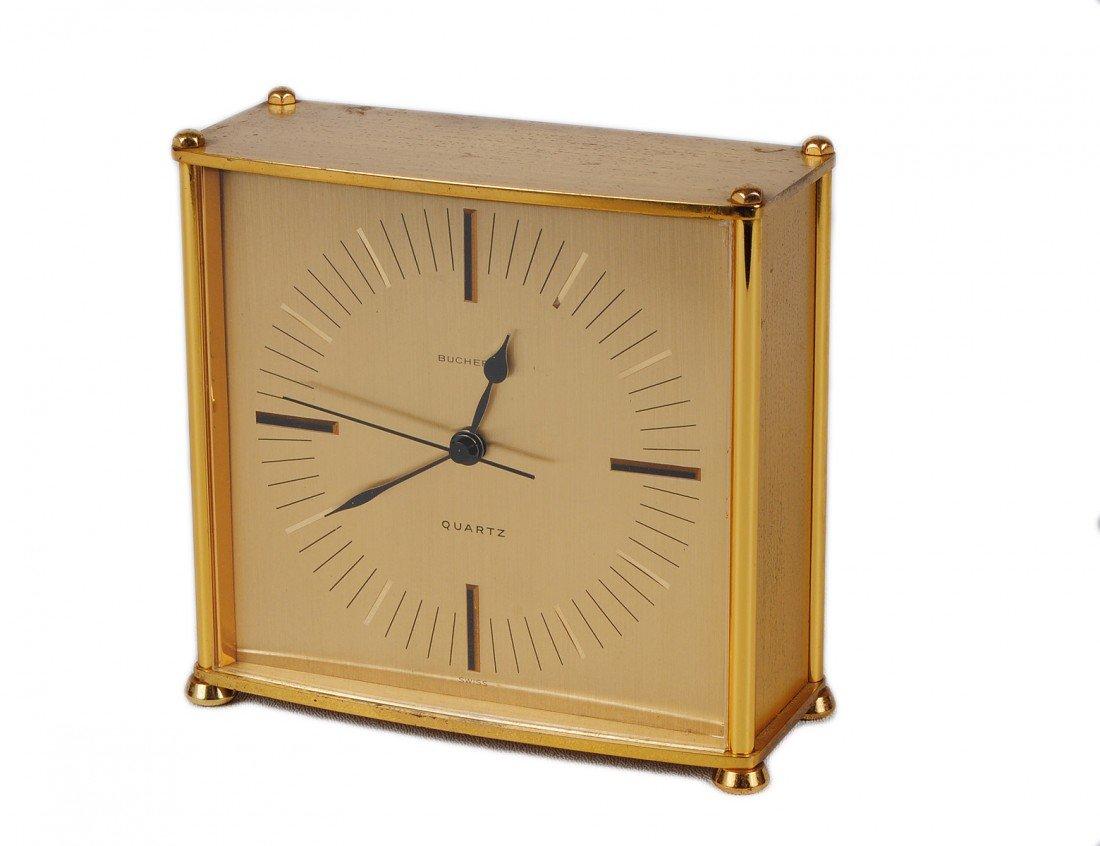 7: BOUCHERER BRASS TABLE CLOCK
