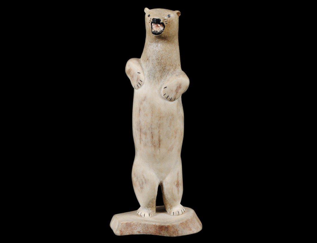 8: CARVED WHALE BONE FIGURE OF A POLAR BEAR