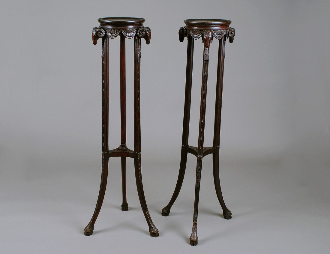 22: PAIR OF EMPIRE STYLE FRUITWOOD FERN STANDS
