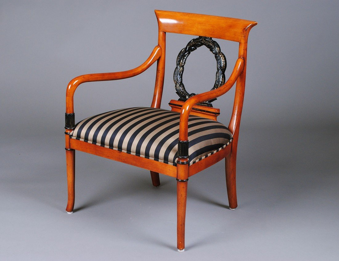 24: EMPIRE STYLE CARVED FRUITWOOD ARM CHAIR