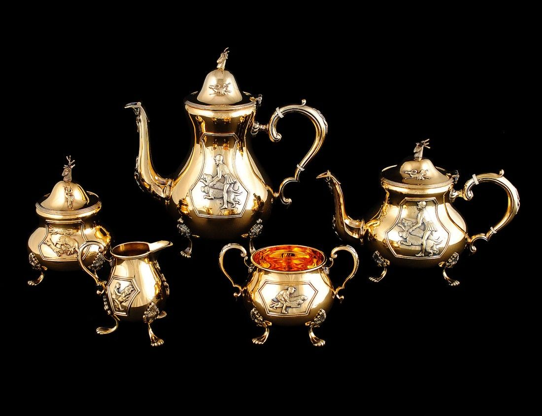 ELIZABETH II FIVE PIECE SILVER GILT TEA AND COFFEE