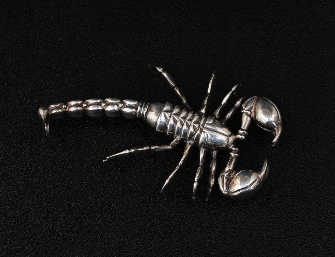 2: STERLING SILVER SCULPTURE OF A SCORPION