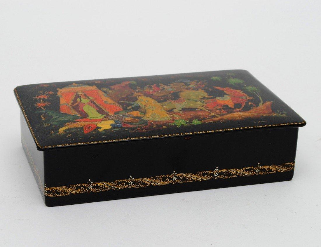 4: GOOD LACQUERED PAPIER MACHE BOX