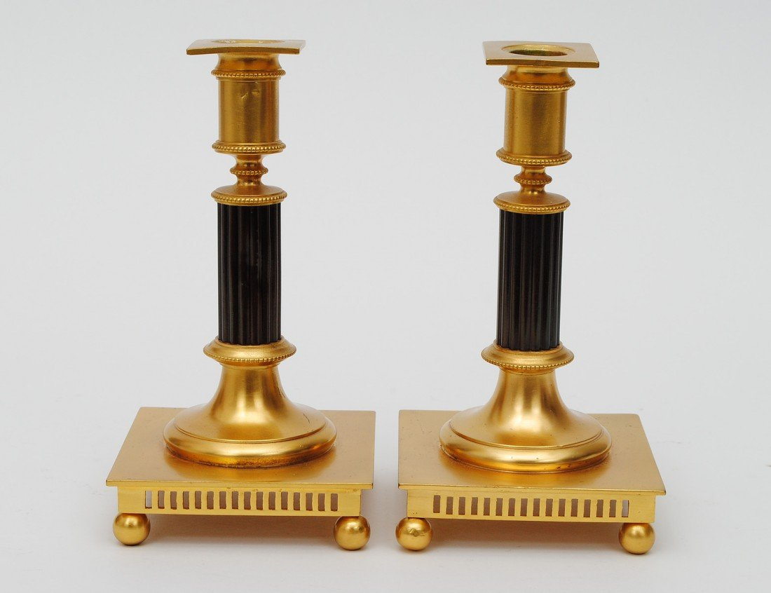 6: PAIR OF REGENCY STYLE BRASS CANDLE STICKS