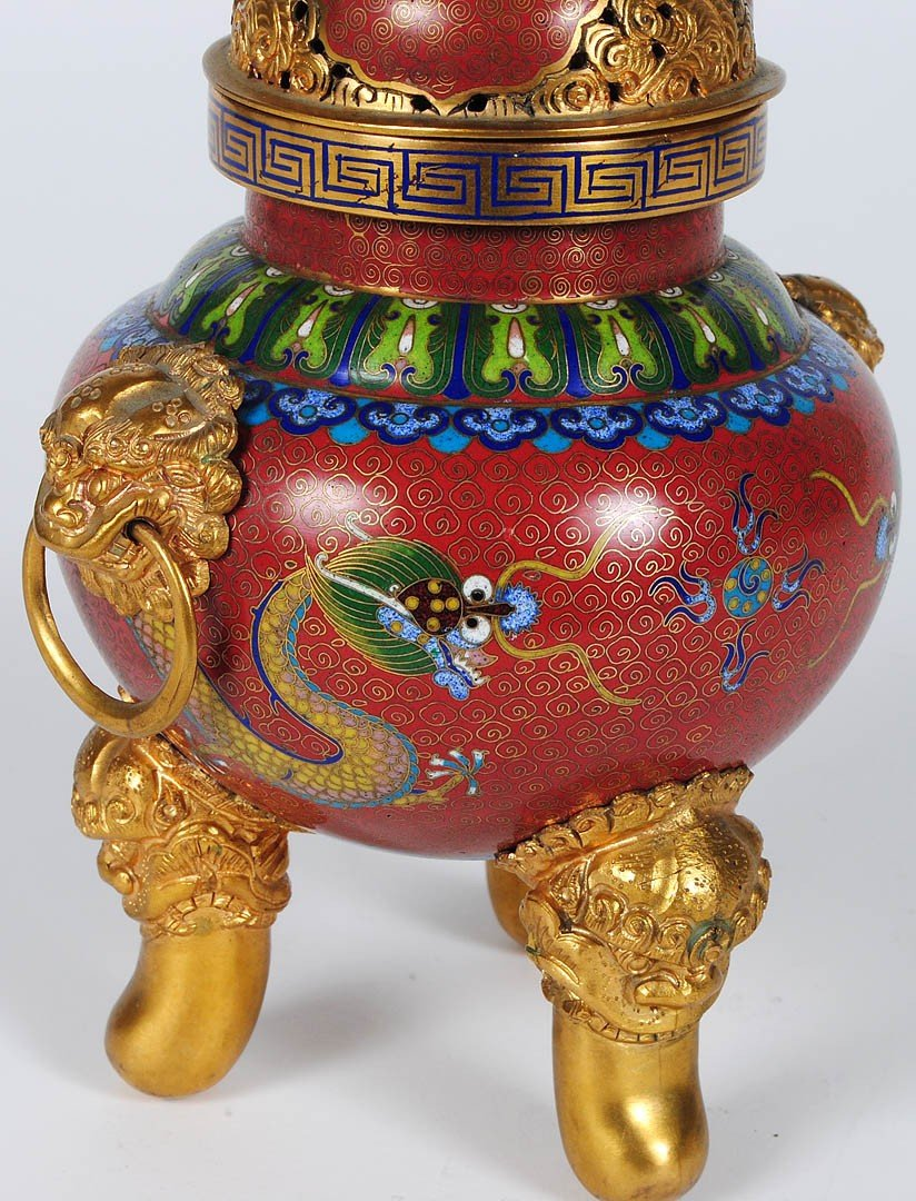 10: BRASS AND CLOISONNE ENAMEL KORO AND COVER - 3