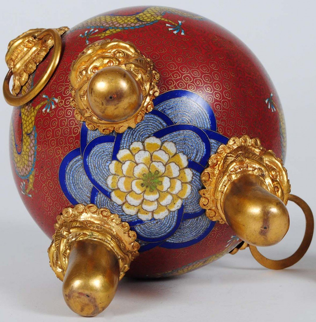 10: BRASS AND CLOISONNE ENAMEL KORO AND COVER - 4