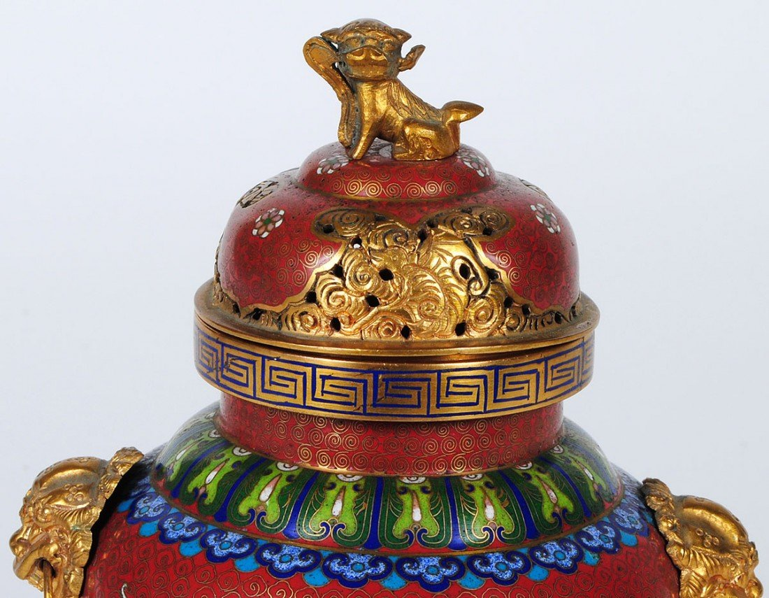 10: BRASS AND CLOISONNE ENAMEL KORO AND COVER - 5