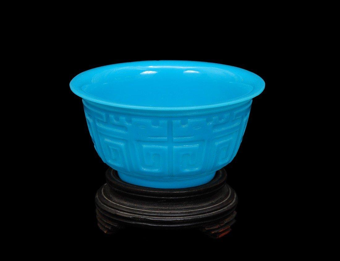 32: BLUE PEKING GLASS BOWL
