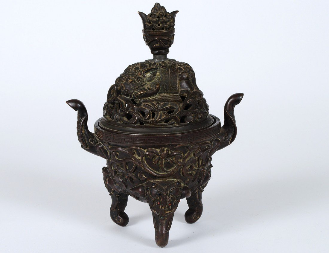 45: PATINATED BRONZE INCENSE BURNER AND COVER