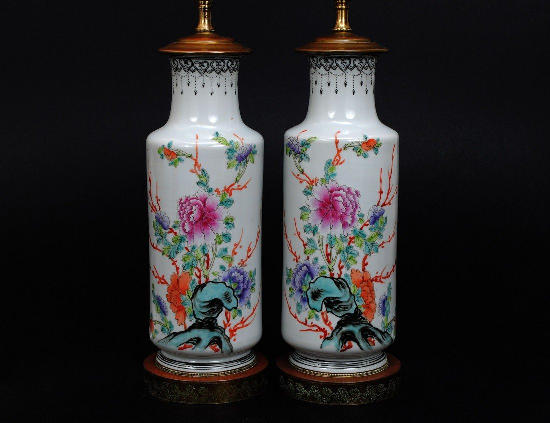 72: PAIR OF FAMILLE ROSE PORCELAIN VASES