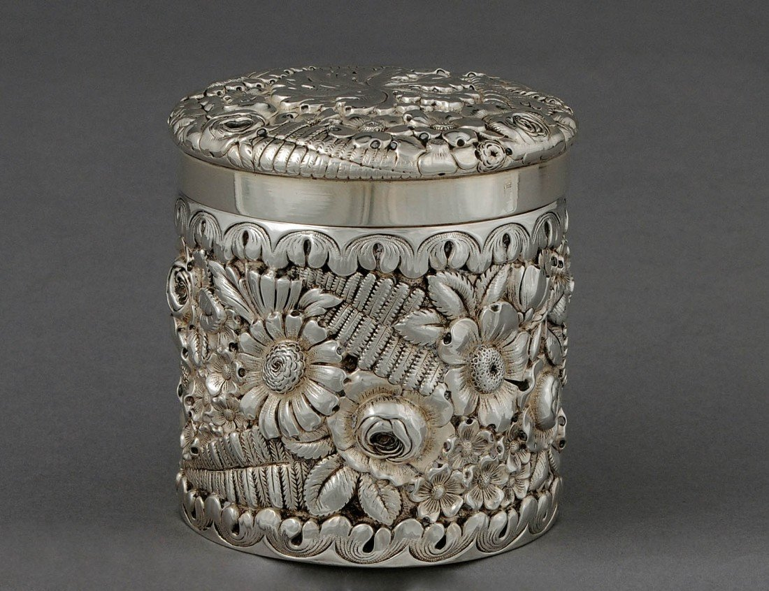 90: TIFFANY & CO. REPOUSSE STERLING SILVER BOX AND COVE