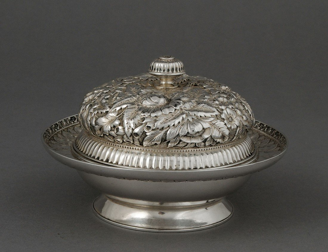 91: TIFFANY & CO. STERLING SILVER BUTTER DISH, COVER AN