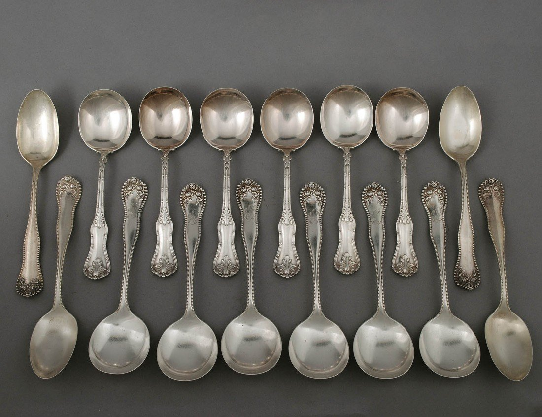 105: SIXTEEN STERLING SILVER SPOONS
