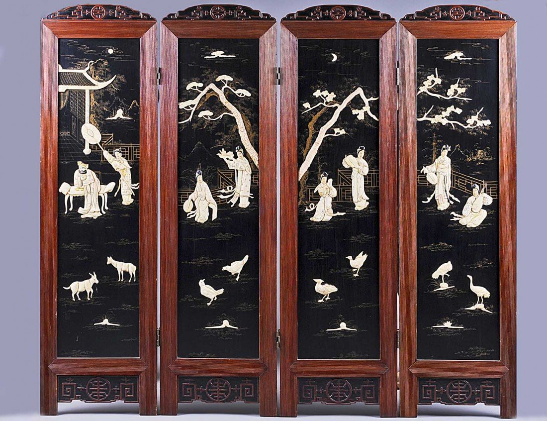 319: FOUR PANEL COMPOSITION OVERLAID LACQUERED SCREEN