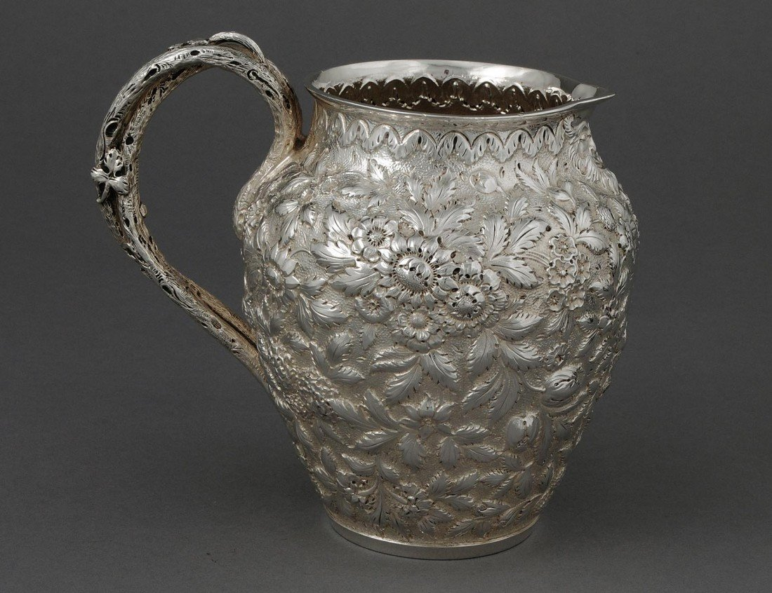 357: FINE REPOUSSE STERLING SILVER PITCHER