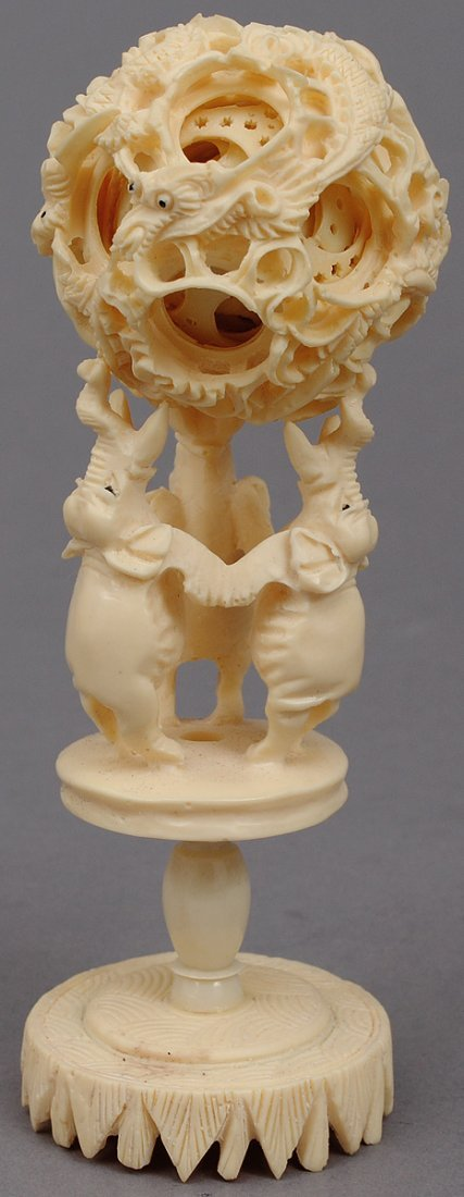 14: CARVED IVORY CONCENTRIC BALL - 2