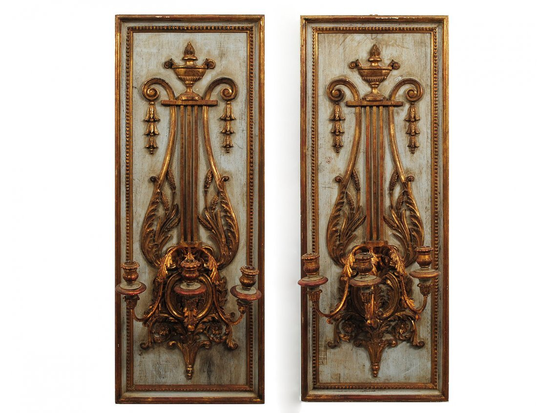 25: ROCOCO STYLE CARVED, GILT & PAINTED WOOD THREE LIGH