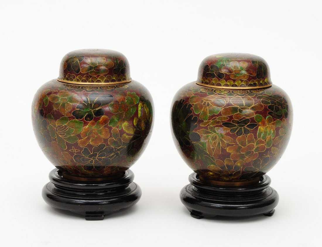 38: PAIR OF CLOISONNE ENAMEL JARS AND COVERS