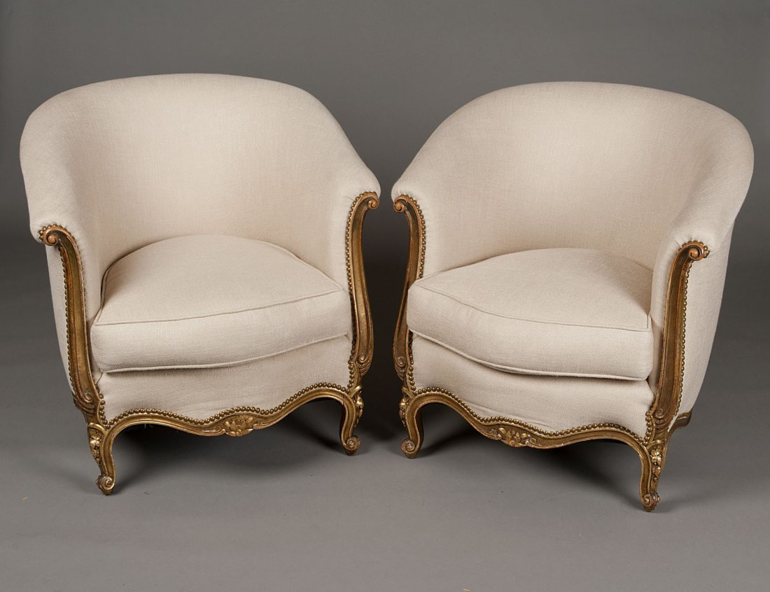 48: PAIR OF LOUIS XV STYLE GILTWOOD TUB CHAIRS