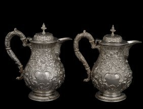 PAIR OF WILLIAM IV STERLING SILVER JUGS