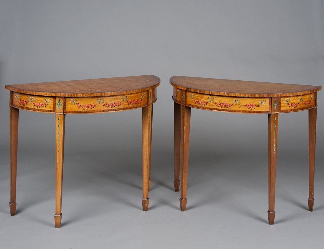 84: PAIR OF ADAMS STYLE PAINTED SATINWOOD CONSOLE TABLE