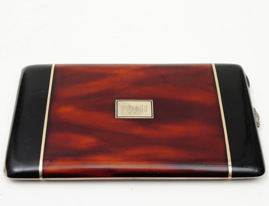89: T.S. AND SILVER PLATED CIGARETTE CASE