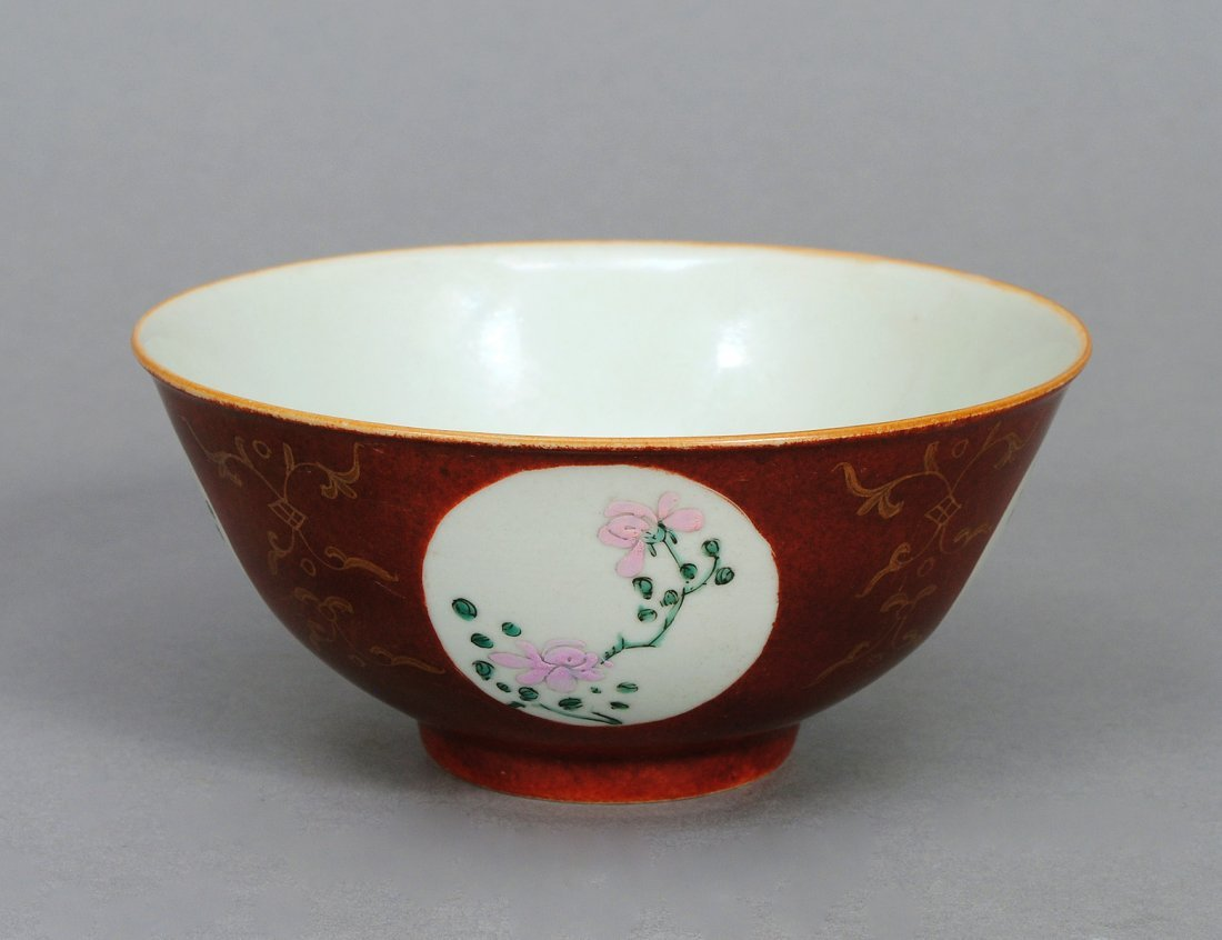 102: FINE COFFEE GROUND FAMILLE ROSE PORCELAIN BOWL