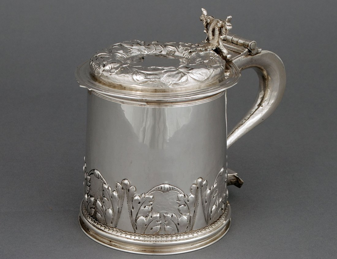 113: VERY RARE CHARLES II STERLING SILVER TANKARD