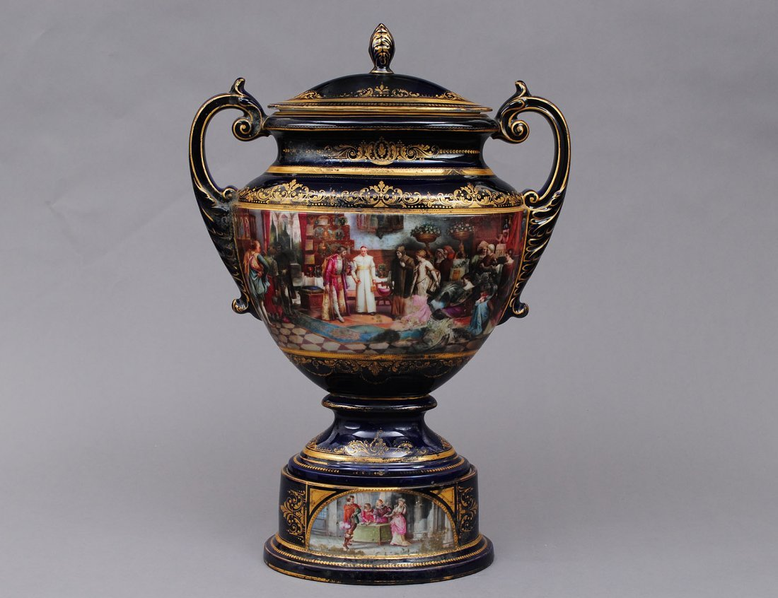 115: IMPRESSIVE VIENNA STYLE PORCELAIN URN AND COVER