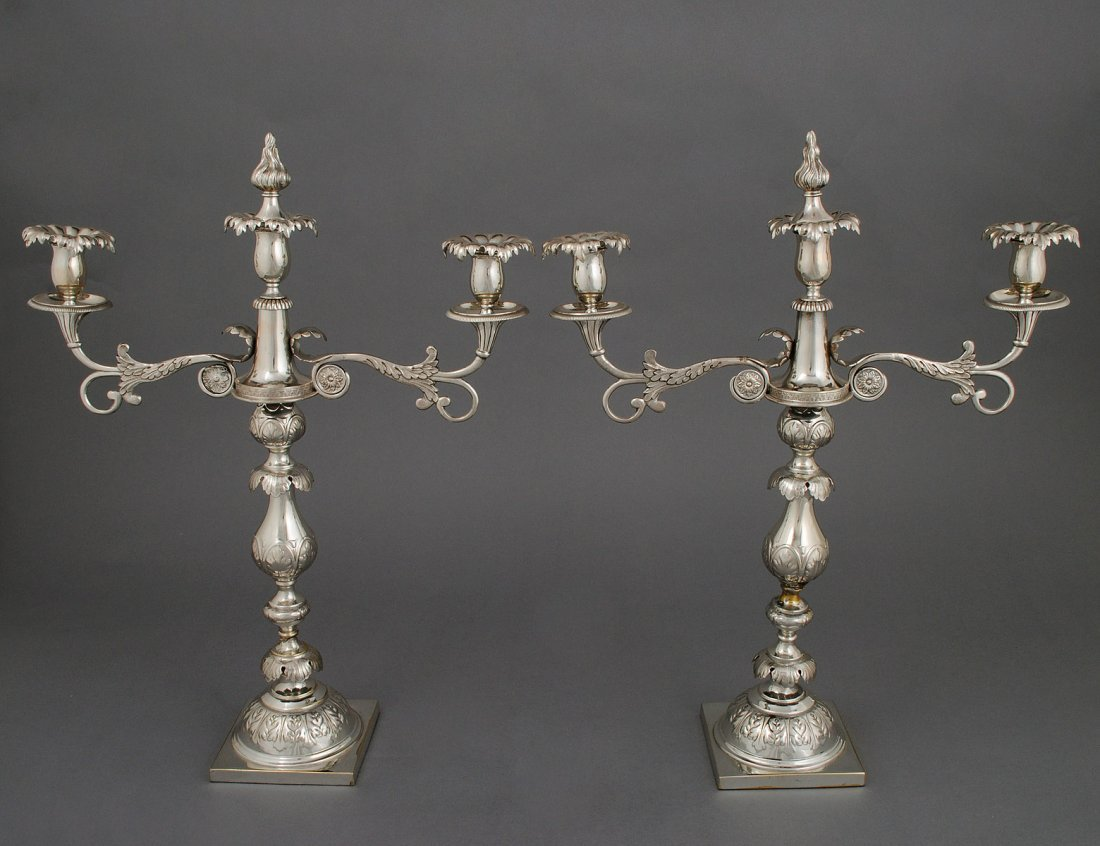 120: PAIR OF SILVER PLATED THREE LIGHT CANDELABRA