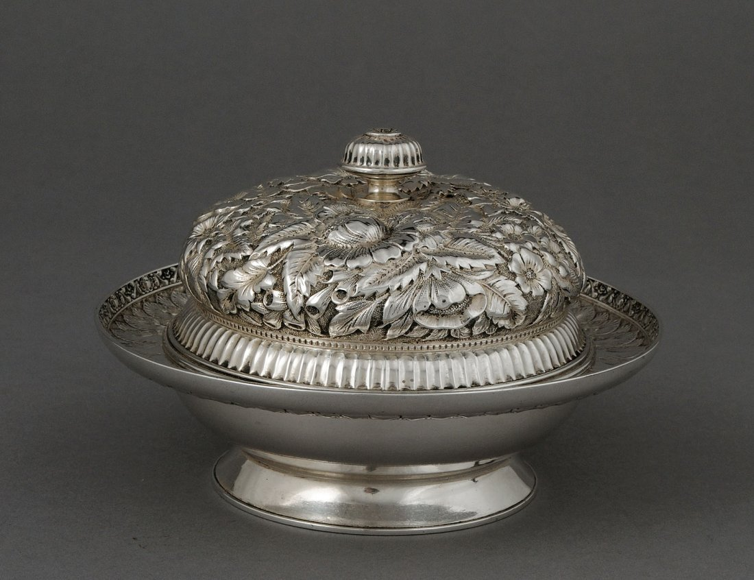 158: TIFFANY & CO. STERLING SILVER BUTTER DISH, COVER A