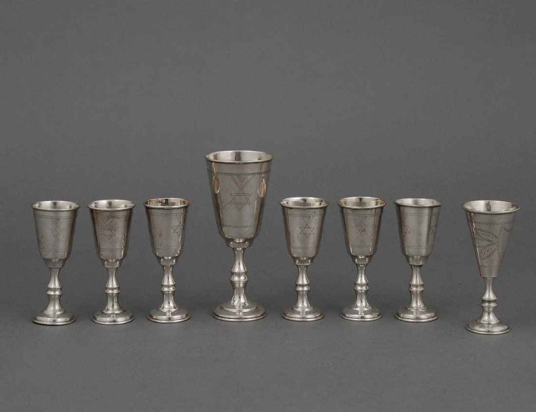 303: EIGHT PIECE STERLING SILVER KIDDUSH CUP SET