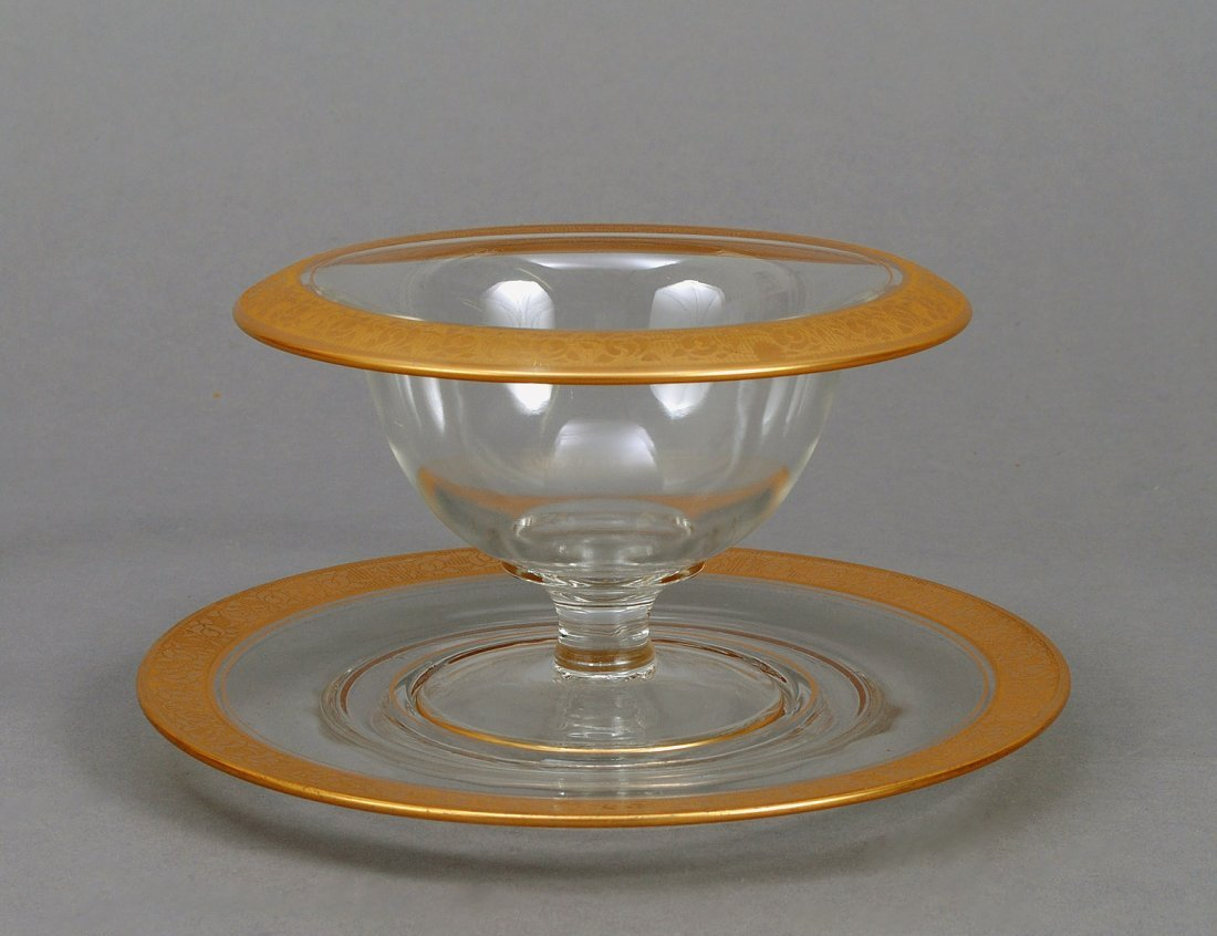 306: GLASS PEDESTAL BOWL AND STAND