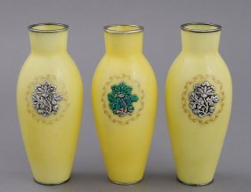 SET OF THREE CLOISONNE ENAMEL AND SILVER VASES