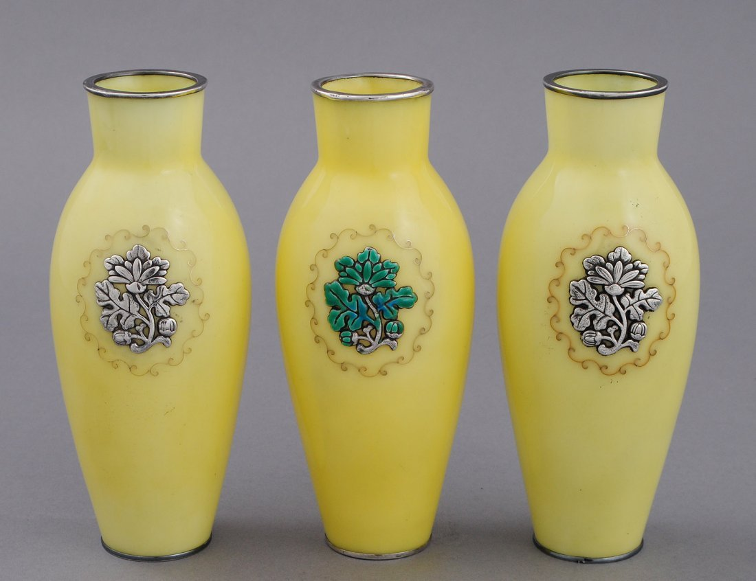 348: SET OF THREE CLOISONNE ENAMEL AND SILVER VASES