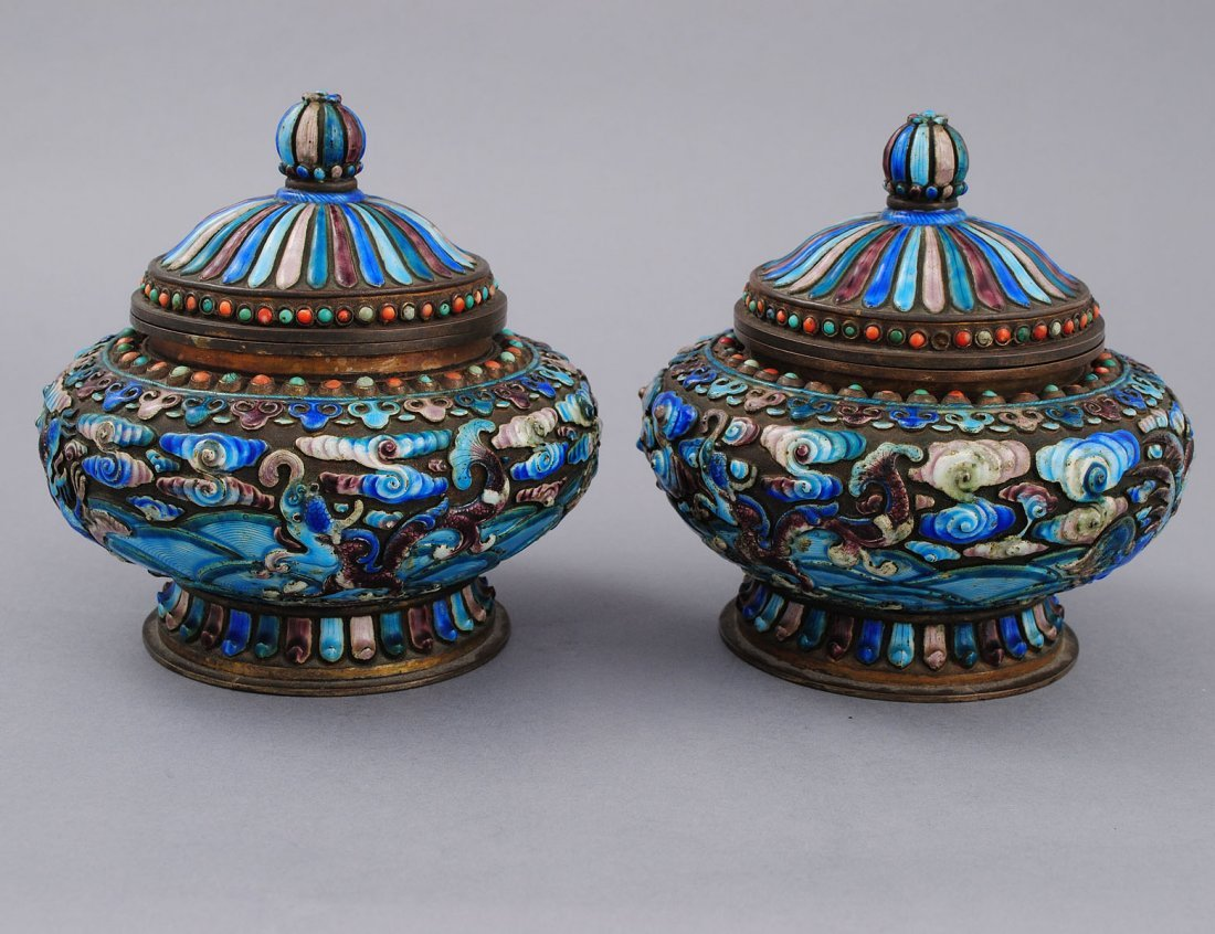 349: PAIR OF ENAMEL ON METAL URNS AND COVERS
