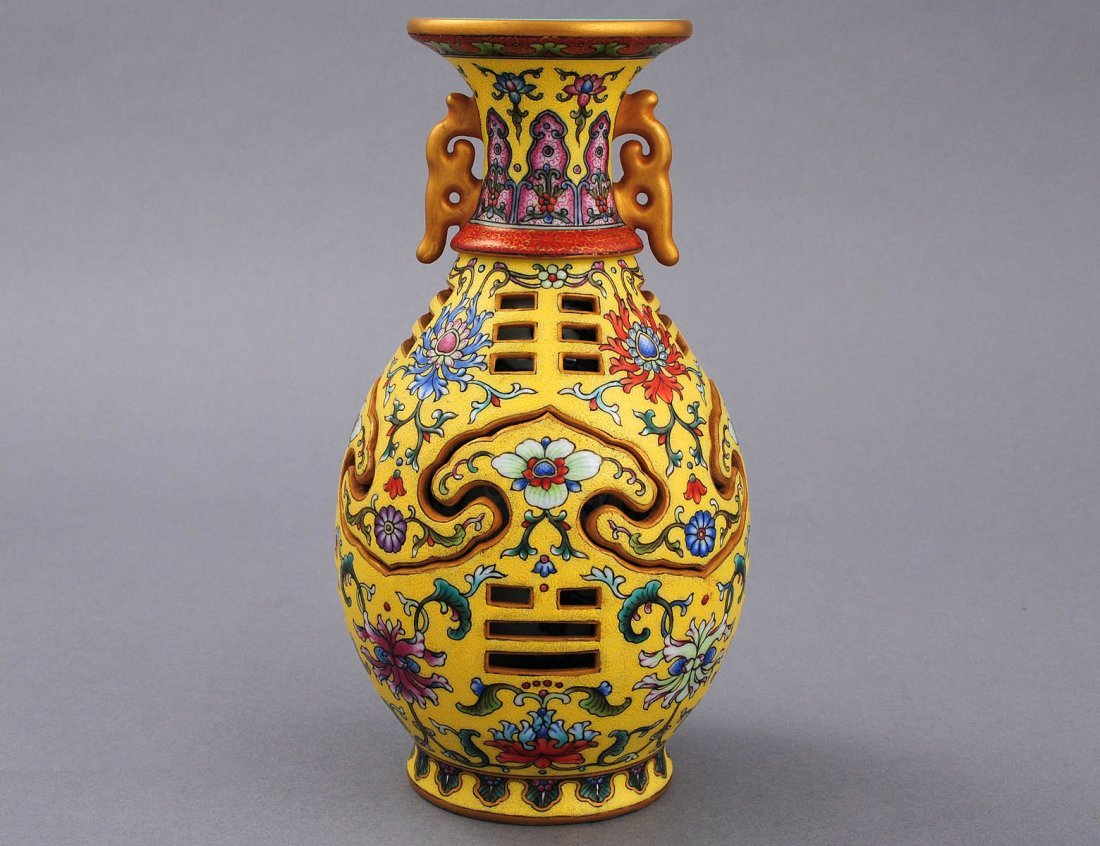 350: MOST UNUSUAL YELLOW GROUND FAMILLE ROSE PORCELAIN
