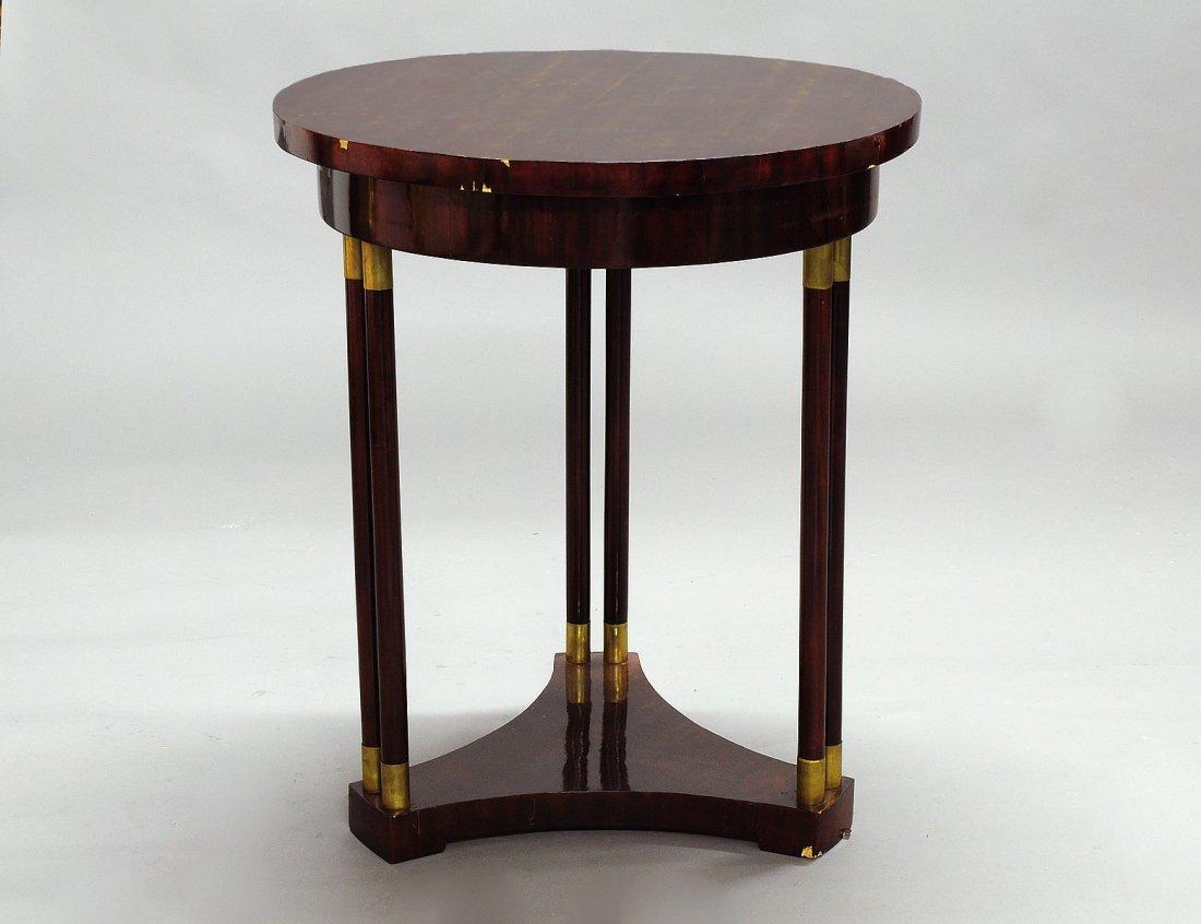 359: BIEDERMEIER MAHOGANY VENEERED CIRCULAR SIDE TABLE