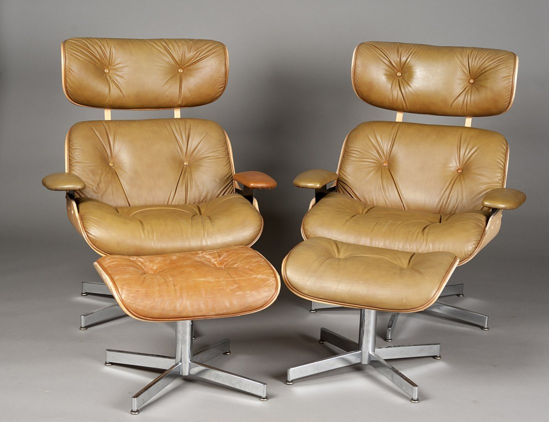 361: PAIR OF LAMINATED LOUNGE CHAIRS AND STOOLS