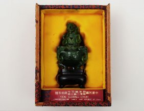 SPINACH JADE CENSER AND COVER
