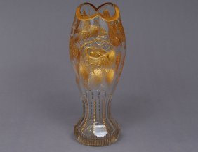 FINE CUT AND GILT GLASS VASE